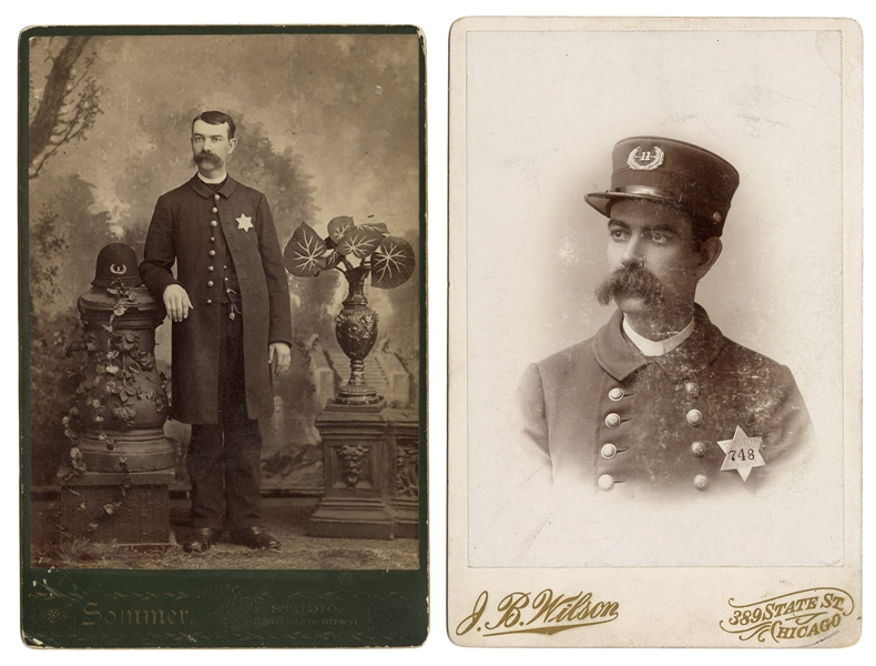 Pair of Cabinet Photos of a Chicago Policeman.