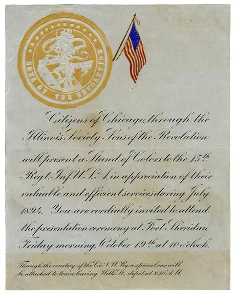 Invitation from Citizens of Chicago to Soldiers of Fort Sheridan in Appreciation of Services During Pullman Strike and Unrest.