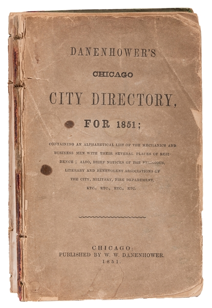 Danenhower's Chicago City Directory for 1851.