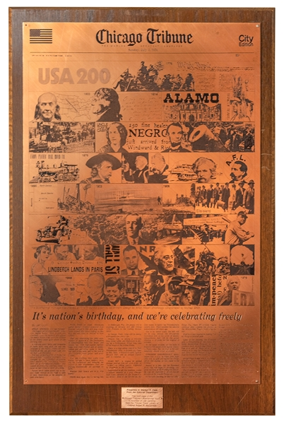 Chicago Tribune U.S. Bicentennial Presentation Front Page Copper Plate.