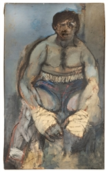 Portrait Painting of a Defeated Boxer.