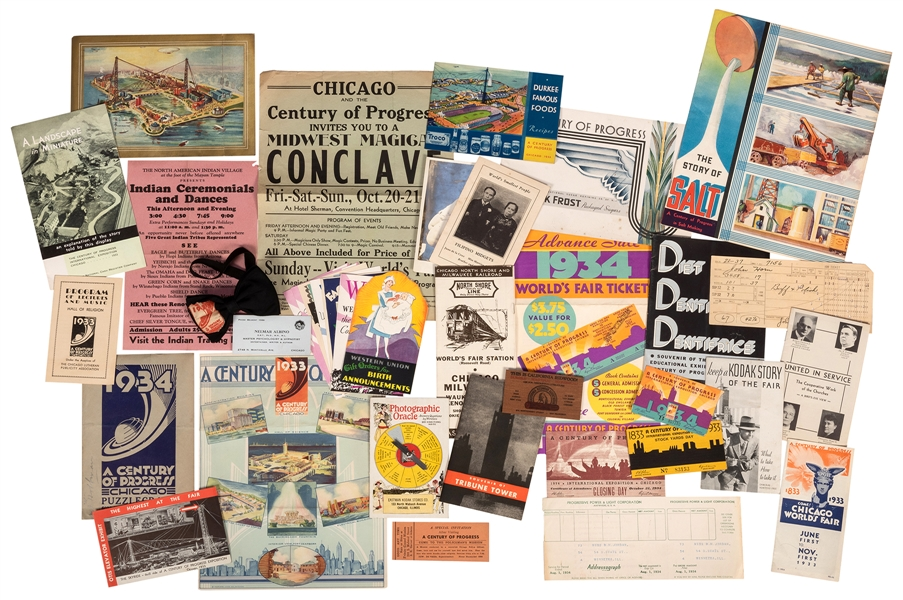 "Collection of 1933—34 Chicago World's Fair ""Century of Progress"" Ephemera."
