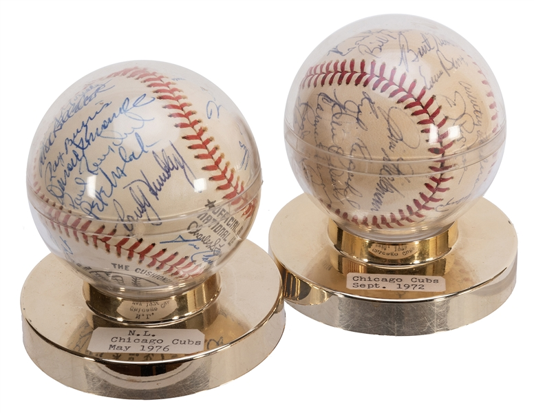 Chicago Cubs Pair of Signed Team Baseballs. 1972 / 76.