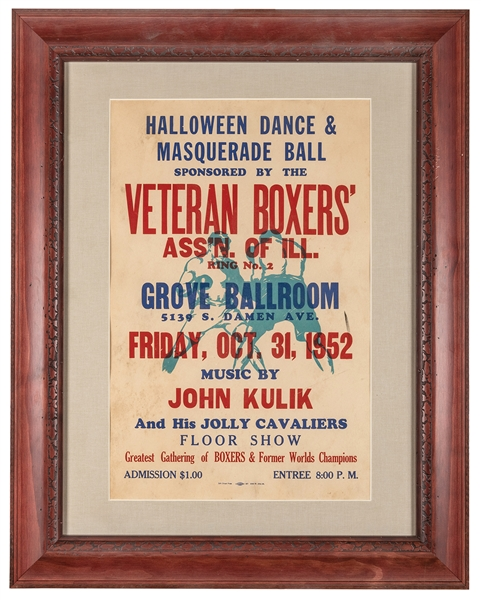 Veteran Boxers' Association of Illinois. Halloween Dance & Masquerade Ball. 1952.