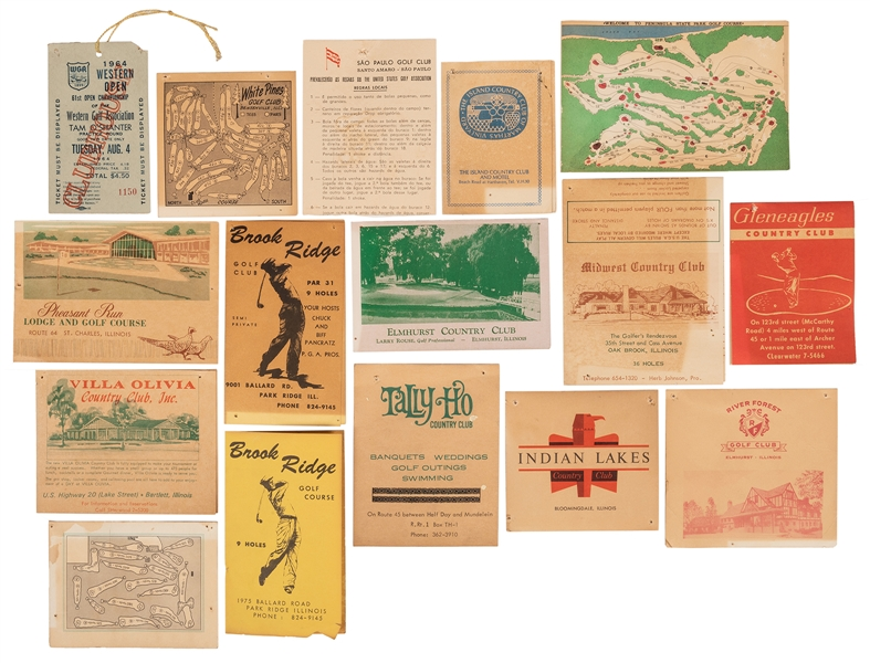 Group of Vintage Golf Scorecards, Mainly Illinois.