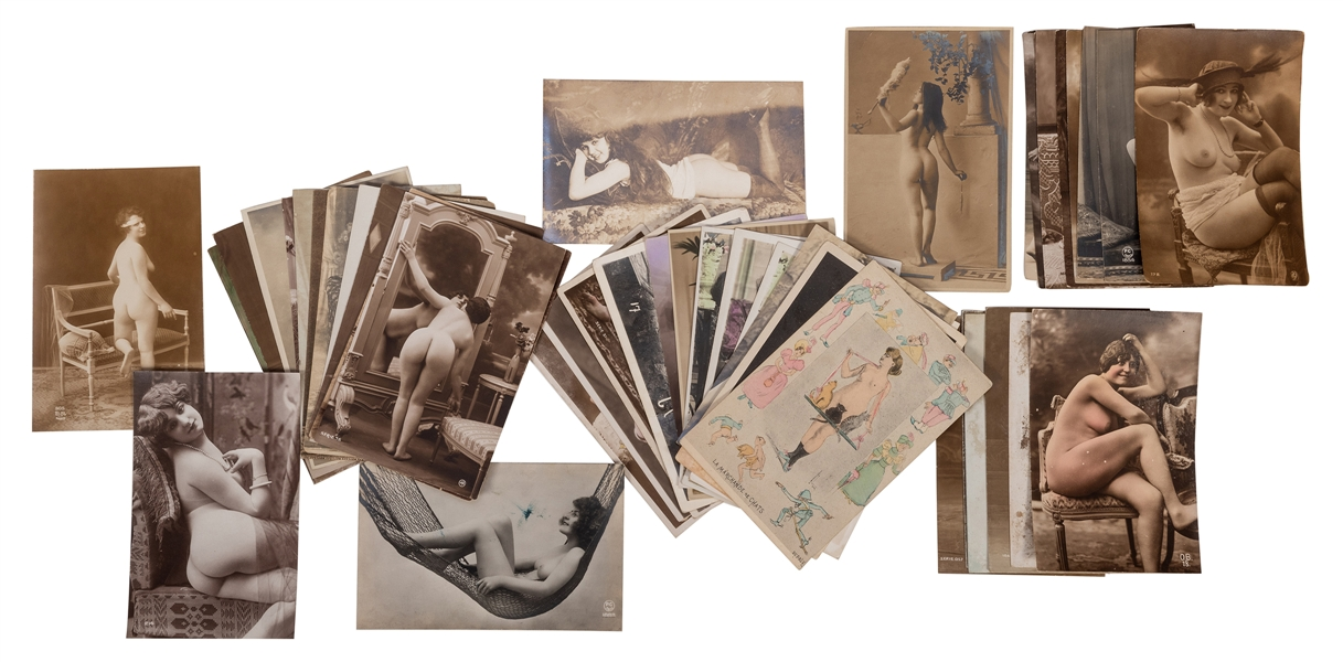 Lot of Over 100 Erotic Real Photo Postcards, Snapshots, and Ephemera.