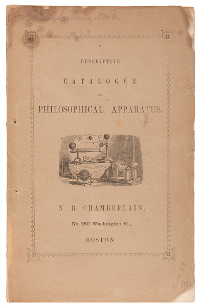 N.B. Chamberlain. A Descriptive Catalogue of Philosophical Apparatus.