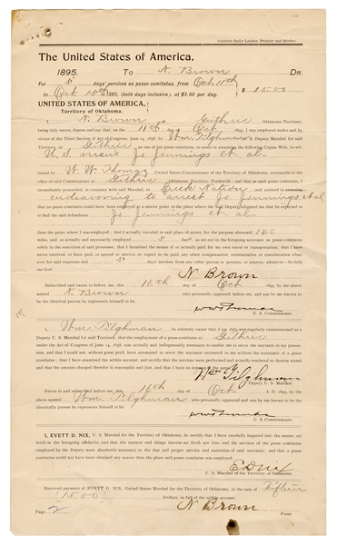 "Oklahoma Territory Posse Document Signed by William ""Bill"" Tilghman."