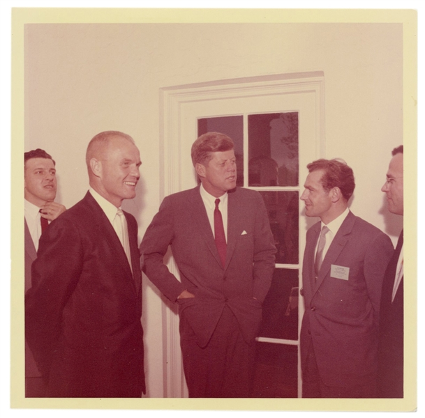 Original Photograph of JFK, John Glenn, and Gherman Titov.