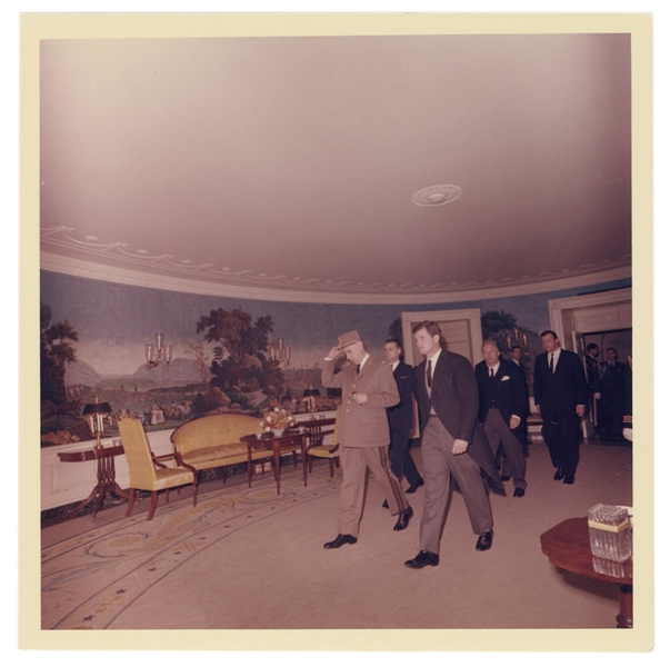 Original Photograph of Ted Kennedy and Charles de Gaulle.