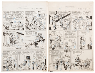 Tom Mix Western No. 27. Pair of Original Comic Book Pages.