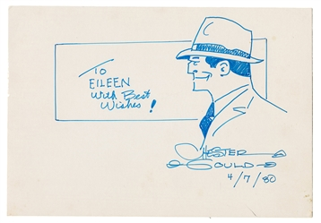Chester Gould Original Signed Dick Tracy Illustration.