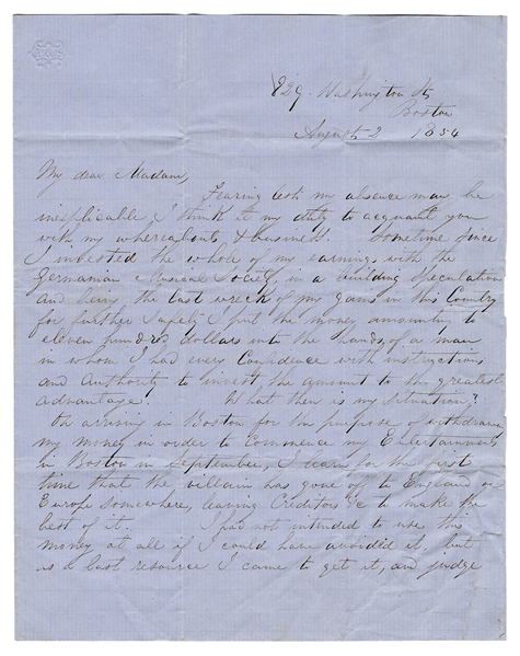 "Autograph Letter Signed, ""Robert Heller,"" to Madame Blanchard."