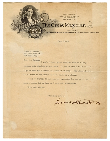 Typed Letter Signed Howard Thurston to Clyde Powers.