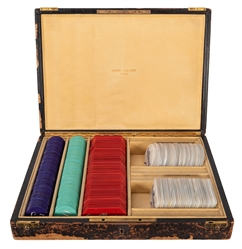 Cased Mother of Pearl Gambling Chip Set.