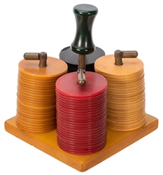 Clay Poker Chip Set With Bakelite Holder.