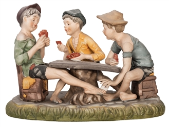 Capodimonte Porcelain of Boys Cheating at Cards.
