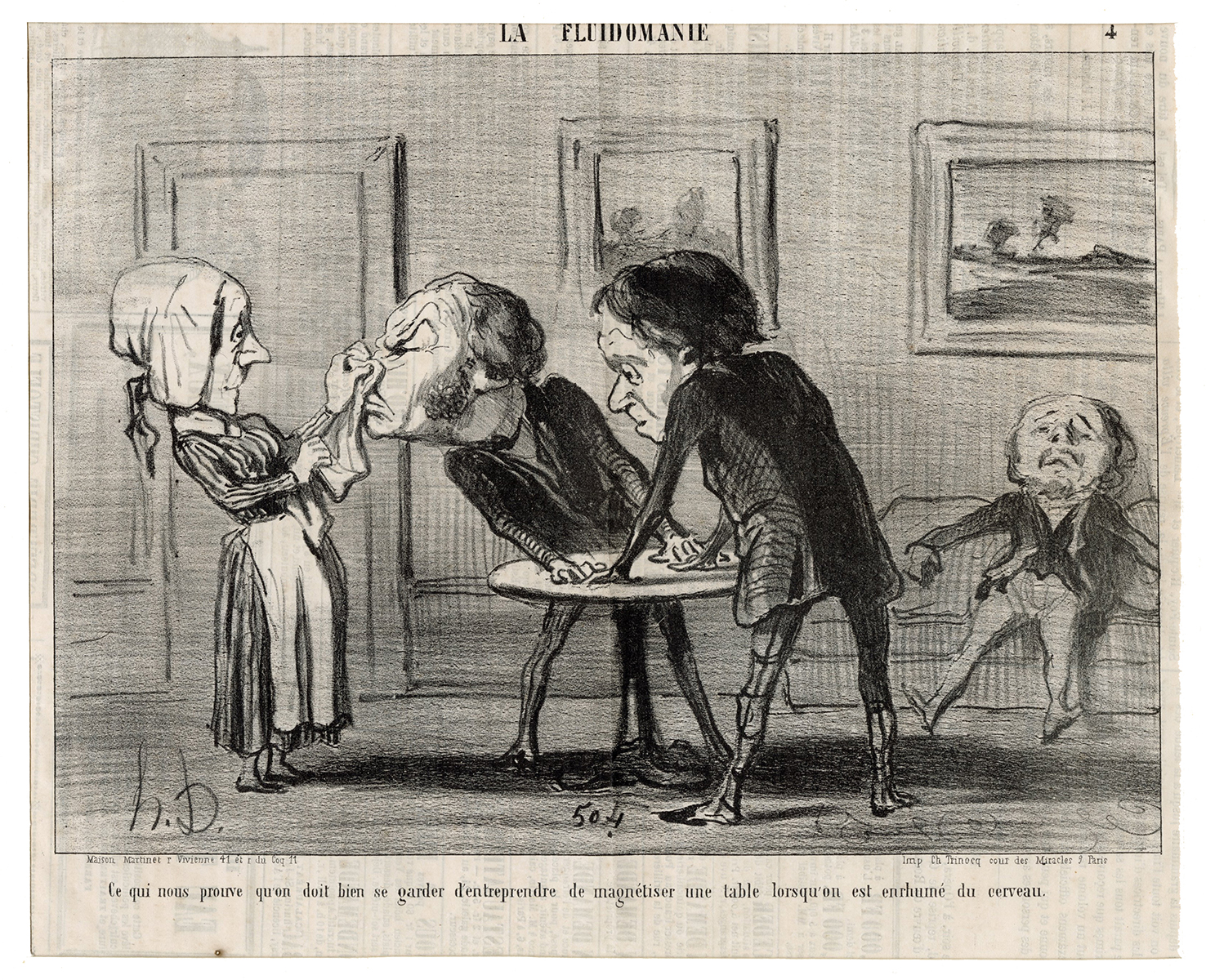 Antique Honore Daumier Pencil Signed Lithograph 3 Sleeping