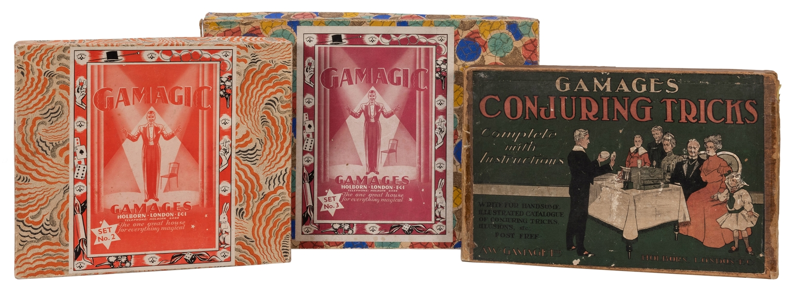 "Gamages ""Gamagic"" Magic Sets. Lot of Three."