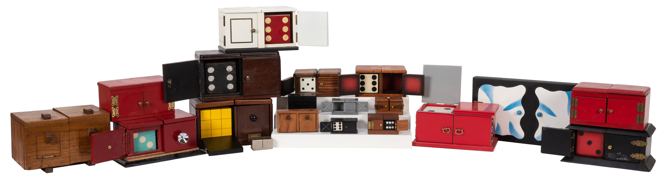 Collection of 20 Vintage Magicians' Die Boxes.