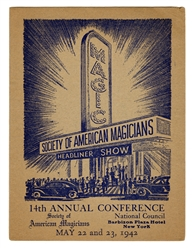 S.A.M. 14th Annual Conference Program, Signed by Cardini.