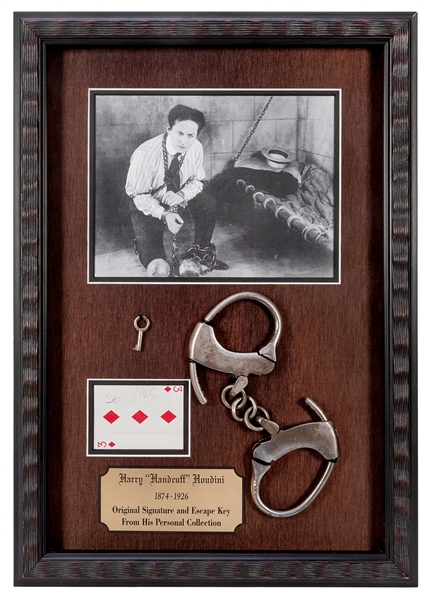 Houdini-Owned Key and Signed Houdini Playing Card.