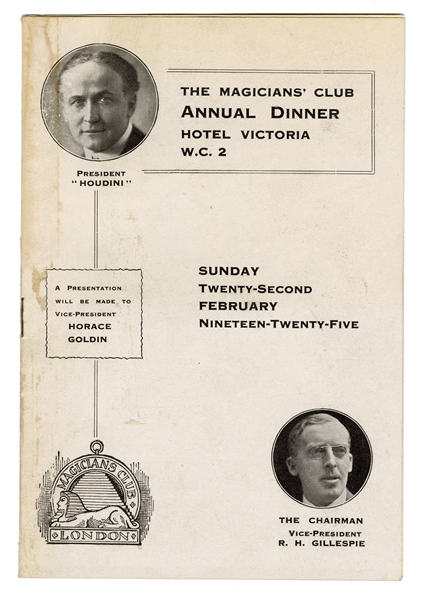 The Magicians' Club Annual Dinner Program with Menu.