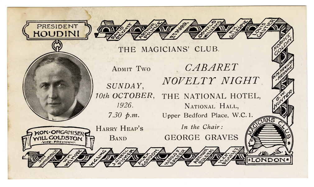 The Magicians' Club Annual Dinner Admission Ticket.