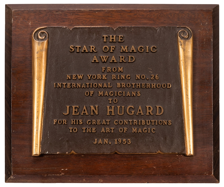 "Jean Hugard I.B.M. ""Star of Magic"" Bronze Plaque."