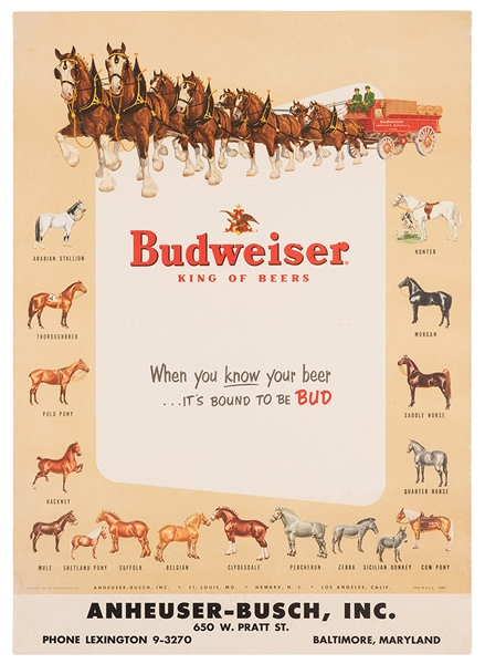 Budweiser. King of Beers. Baltimore: Anheuser-Busch, 1953.