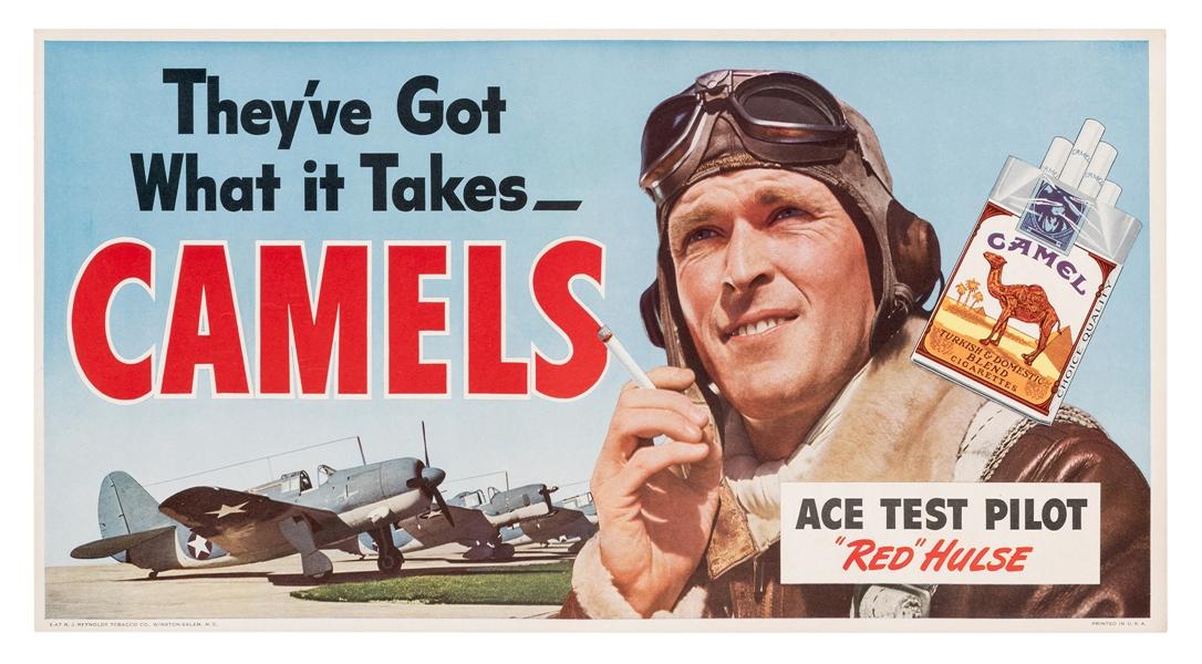 Camel Cigarettes. Ace Test Pilot WWII Poster.