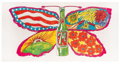 Dypold, Pat. Butterfly & Bottle. 7 Up Fallpaper Poster. 1969.