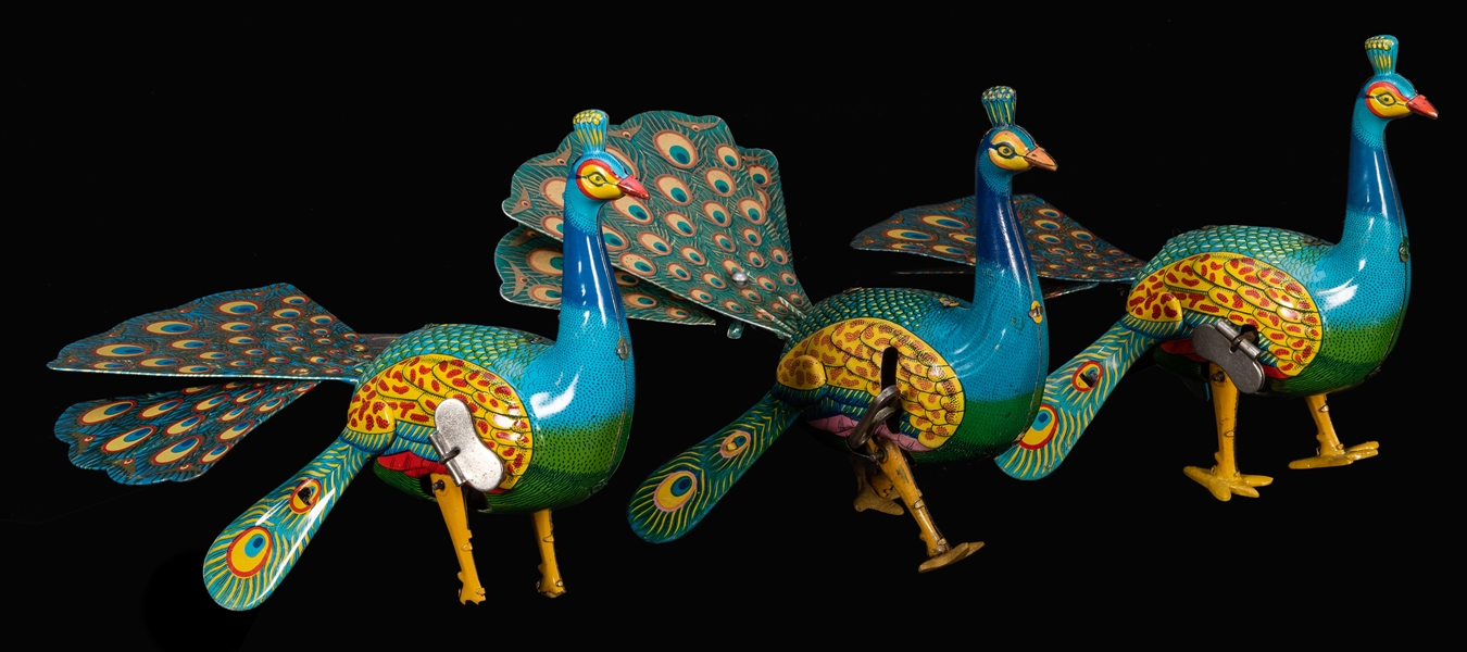 Trio of ALPS Proud Peacock Wind-Up Toys.
