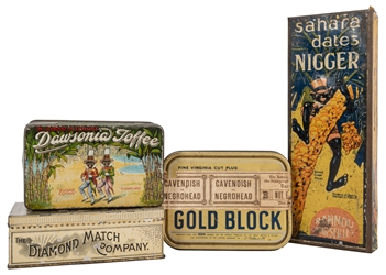 Black Americana Advertising Tin Boxes. 4 pcs.