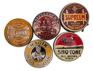 Black Americana Shoe Polish Tins. 5 pcs.
