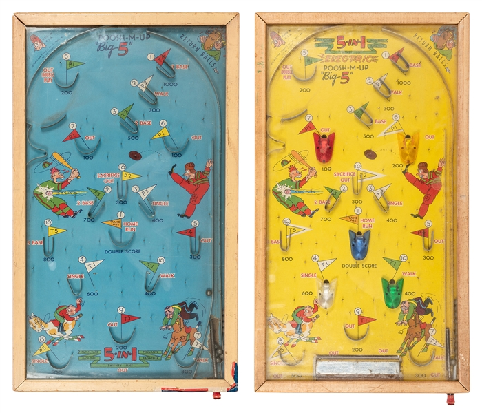 "Northwestern Poosh-M-Up ""Big Five."" Pair of Bagatelle Games."