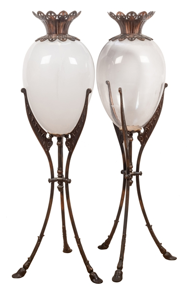 Pair of Apothecary Show Globes on Stands.