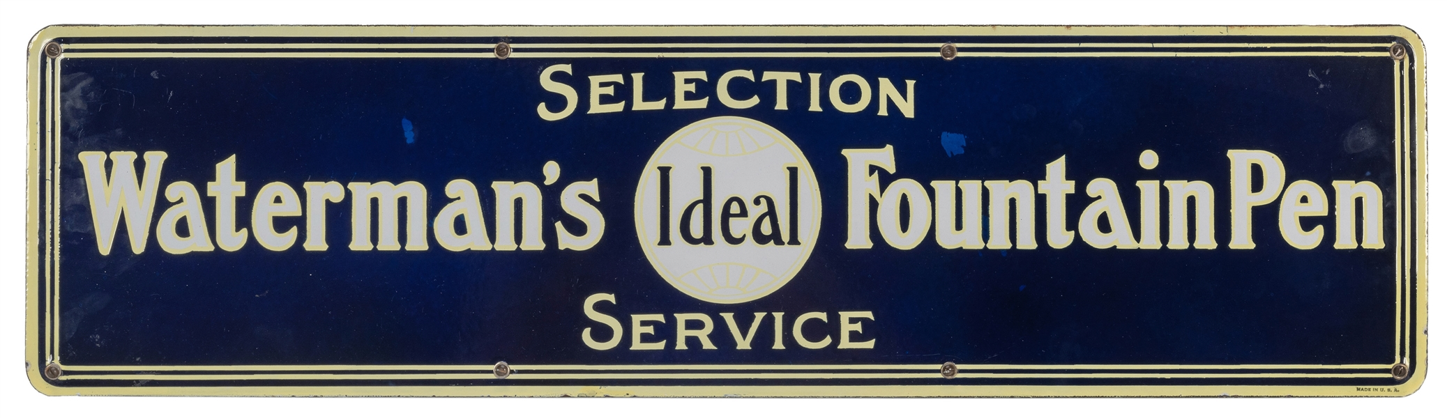 Waterman's Fountain Pen Selection Service Porcelain Sign.