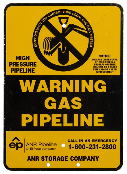 Don't Dig / Gas Pipeline Metal Warning Sign.