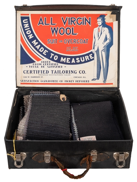 Chicago Certified Tailoring Wool Fabric Salesmans Samples in Original Case.