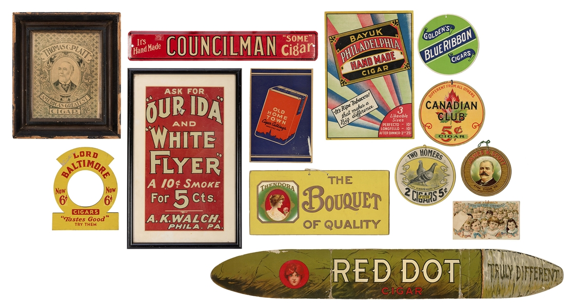 Group of Cigar / Tobacco Signs and Advertisements.