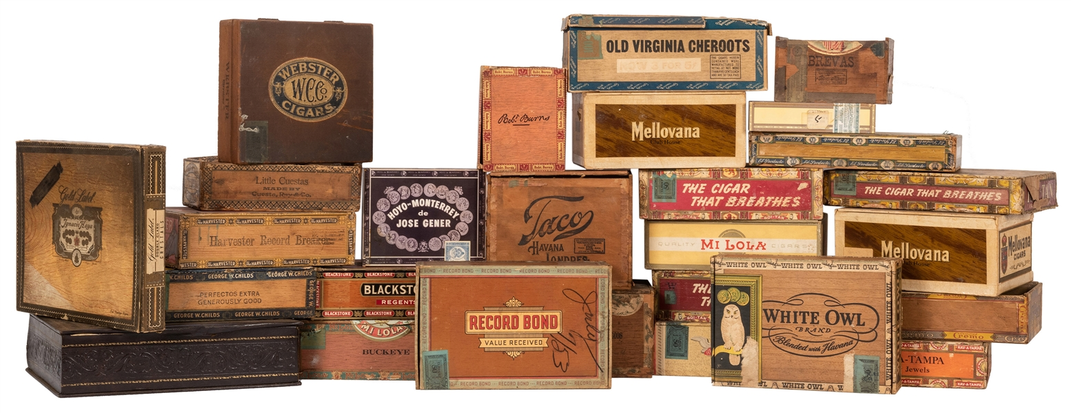 Large Collection of Cigar Boxes.