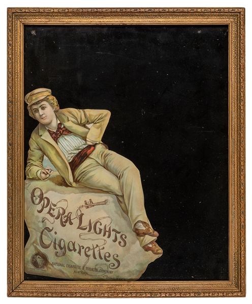 Opera Lights Cigarettes / Della Fox Die Cut Advertising Easel.