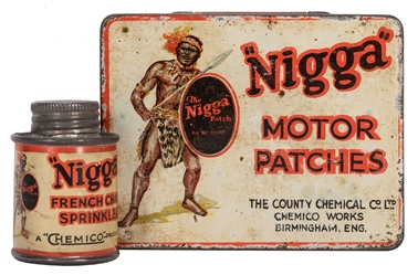 Black Americana Motor Patches and French Chalk Tins. 2 pcs.