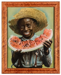 Young Boy Eating Watermelon Advertisement.