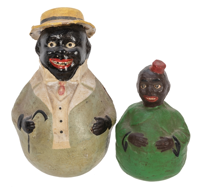 Pair of Black Americana Paper Mache Roly Poly Figures.