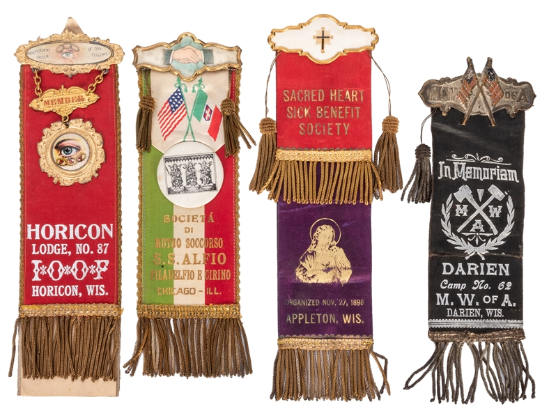 Group of Fraternal Lodge Ribbons. 4 pcs.