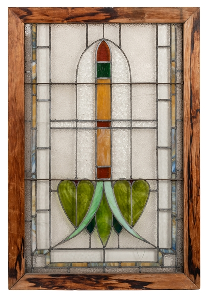 Stained and Leaded Glass Window Panel.