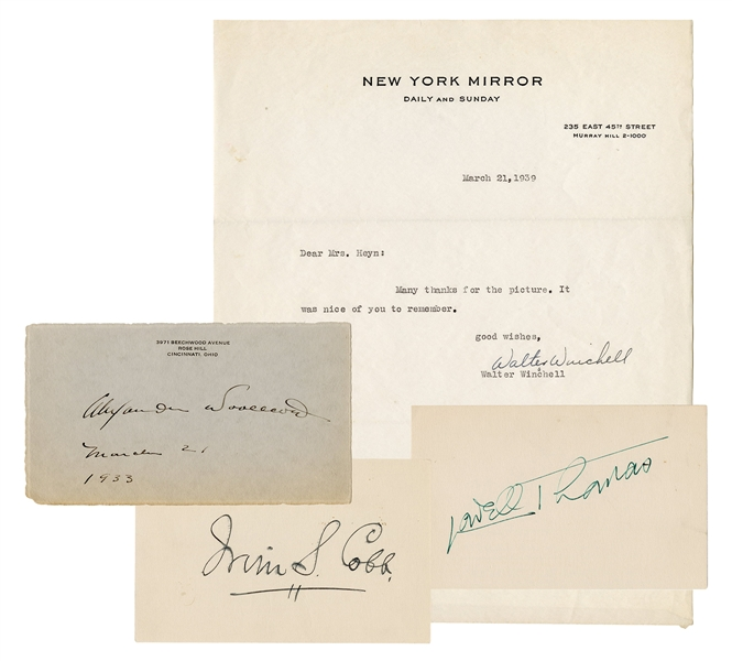 Autographs of Walter Winchell, Lowell Thomas, Irvin Cobb, and Alexander Woolcott.