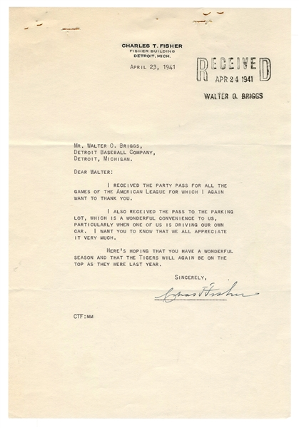 Charles T. Fisher Signed Letter to Walter Briggs.